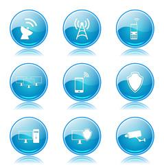 Telecom Communication Blue Vector Button Icon Design Set