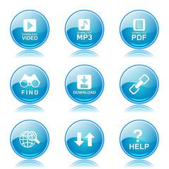 Multimedia Web Internet Blue Vector Button Icon Design Set