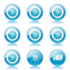 24 Hours Services Blue Vector Button Icon Design Set