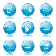 Telecom Communication Blue Vector Button Icon Design Set 2