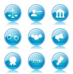 Law Sign Blue Vector Button Icon Design Set
