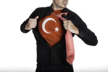 Man with Turkish Flag under Shirt