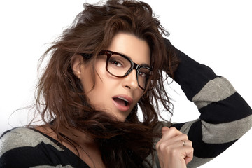 Beauty Fashion Model Girl With Eyeglasses. Cool Trendy Eyewear