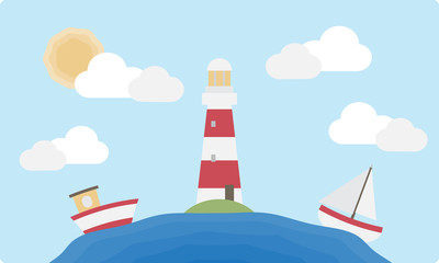 Flat Lighthouse and Boats