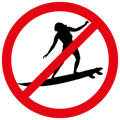 Vector illustration of a prohibition of surfing.