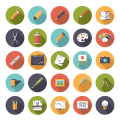 Art and design circular flat icon vector collection