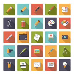 Art and design flat square icon vector collection