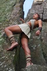 Primitive woman. Amazon woman