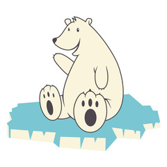 Polar bear, vector illustration, isolated
