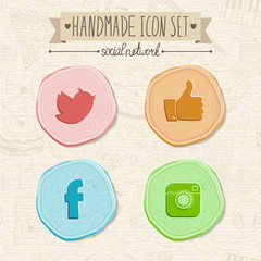 Set of hand-made social network icons in vintage style.