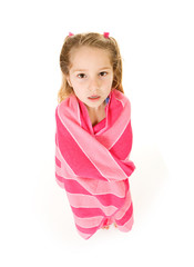 Girl: Little Girl Swimmer Cold And Wrapped In Towel