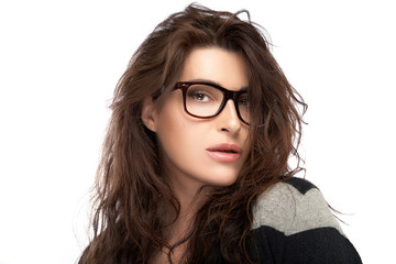 Beauty Fashion Woman With Trendy Glasses. Cool Trendy Eyewear