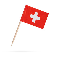 Miniature Flag Switzerland. Isolated on white background
