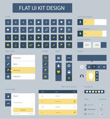 Flat ui kit design elements for website template