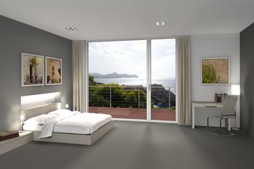 Schlafzimmer mit Ausblick auf das Meer