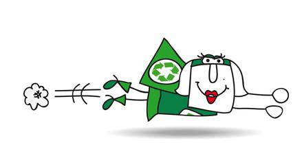 flight of Super recycling woman