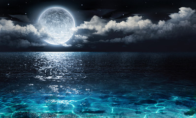 Poster Mer / Ocean romantic and scenic panorama with full moon on sea to night