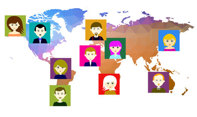 World map with icons of people. Vector. 3