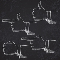 Handdrawn sketch hands set on blackboard