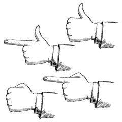 Hand drawn sketch hands set isolated on white background