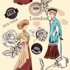 Fashion seamless wallpaper pattern with old fashioned objects