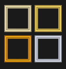 Set picture frames isolated on black background