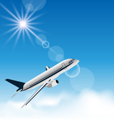 Realistic background with flying airplane
