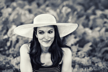 Woman Outside with a Sun Hat - Black and White