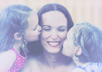 Daughters Kissing their Mother - Retro