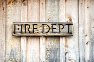 Wooden Fire Department Sign