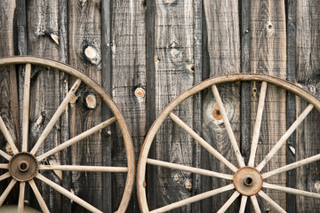 Close Up of Two Wagon Wheels
