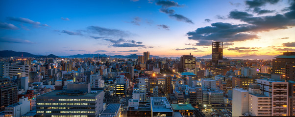 Hiroshima Skyline bei Sonnenuntergang