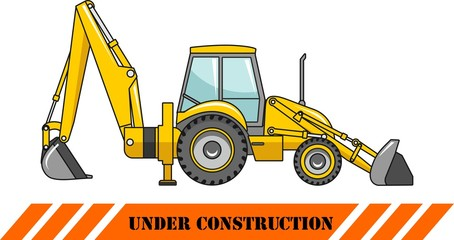 Backhoe loader. Heavy construction machine. Vector illustration