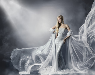 Young Woman in Fashion Shiny Dress, Lady in Flying Clothes,