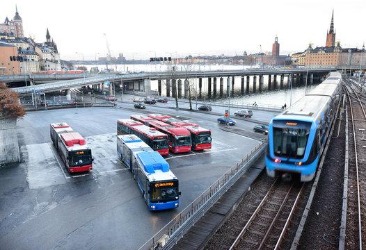 Subway trains crossing bridge in central Stockholm