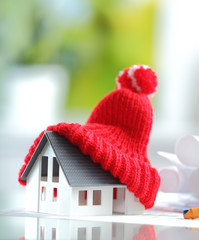 Energy saving Red Knitted Hat on Miniature House