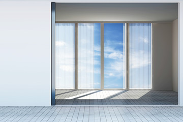 Modern Empty Room Interior with Large Windows and Clouds behind