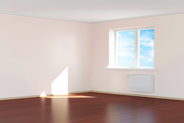 Modern Empty Room 3D Interior in Light Tones
