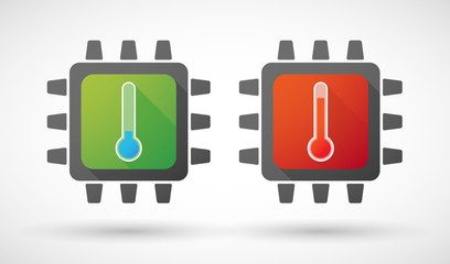 CPU icon set with thermometers