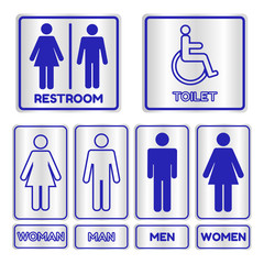 Blue square restroom  Sign set with text