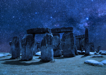 Stonehenge on the background of the night sky. Wall mural