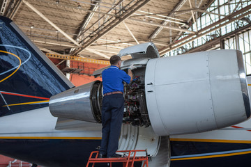 Business jet airplane stays in hangar..