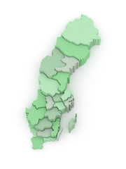 Three-dimensional map of Sweden.