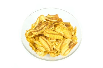 Fried thinly sliced banana chip flavoured BBQ