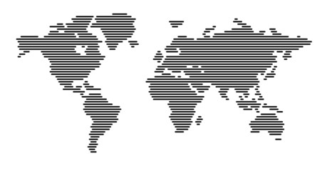 Fototapeten Weltkarte World map horizontal black lines EPS 10