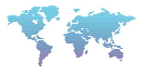 Acrylic Prints World Map World map horizontal blue gradient lines EPS 10
