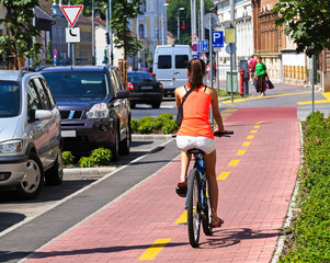 Cycling on the bicycle road