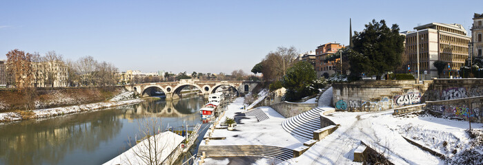 Panoramic view of Rome under the snow