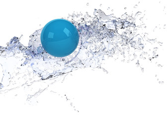 Wall Mural - bright blue sphere in water splash