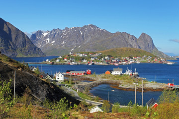 Wall Mural - Norway village with mountain - Lofoten, Reine